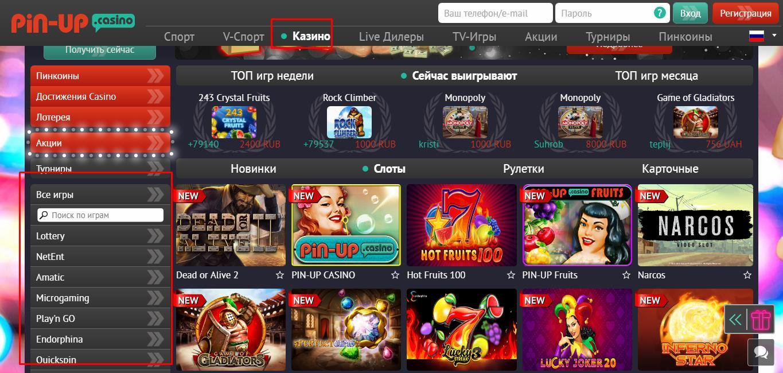 Навигация по казино и его провайдерам, например Микрогейминг и NetEnt в казино Pin up